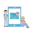 young man and woman with smartphone email love vector image vector image