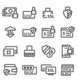 secure payment line icons vector image