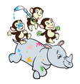 three little monkeys and rhino vector image