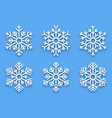 3d papercut decorative snowflakes vector image