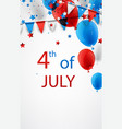 4th july background with balloons vector image