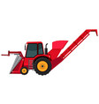 a red backhoe on white background vector image