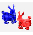 abstract of low poly red and blue rabbit vector image vector image