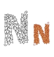 Alphabet letter N in organic leaves font vector image vector image