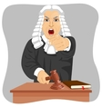 Angry judge pointing his finger at someone vector image