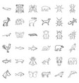 animal icons set outline style vector image vector image