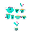 Blue teacup pot and black lwords Tea time on cup vector image vector image