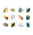 books isometric library symbols school items vector image