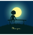 boy sitting lonely in moonlight vector image