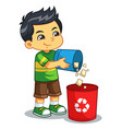 boy throwing garbage in the trash can vector image vector image