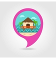 Bungalow with palm trees pin map icon Vacation vector image vector image