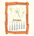 calendar template for october vector image vector image