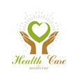 caring hands holding heart graphic symbol vector image vector image