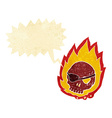 cartoon burning skull with speech bubble vector image vector image