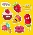 cartoon sweets cute characters face stickers vector image vector image