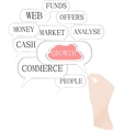 Cloud computing concept design hand and bubbles vector image
