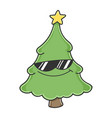 cool sunglasses christmas tree cartoon character vector image vector image