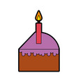 cute cake slice cartoon vector image