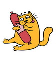 cute cartoon orange cat want smoked sausage vector image vector image