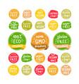 eco organic bio logos stickers set vector image vector image