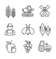 Farm line icons set vector image vector image