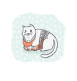 fat christmas cat in embroidery sweater clipart vector image