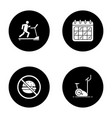 fitness glyph icons set vector image vector image