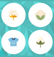flat icon cotton set of cotton fiber flower and vector image vector image