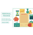 flat personal finance poster template vector image vector image