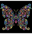 floral butterfly on black background vector image vector image