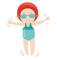 girl in blue swimsuit and red cap vector image vector image