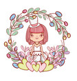 girl with weading dress and hearts and branches vector image vector image