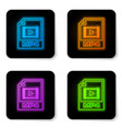 glowing neon mp4 file document icon download mp4 vector image vector image