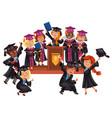 graduates celebrate finishing of education happy vector image