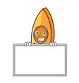 grinning with board canoe character cartoon style vector image