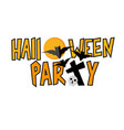 halloween party lettering with bats and skull vector image vector image