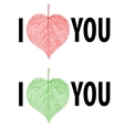 I Love You Lettering stylish text with leaf vector image