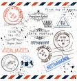 imitation of vintage post stamps paris voyage vector image vector image