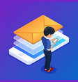 isometric email marketing concept sending emails vector image vector image