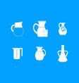 jug icon blue set vector image