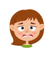 little girl upset face expression isolated on vector image vector image