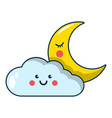 moon and cloud icon cartoon style vector image vector image