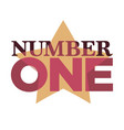 number one emblem with stars and ribbons around vector image vector image