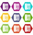 office business keypad phone icon set color vector image vector image
