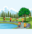 people doing activity at the park vector image vector image