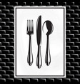 poster with a spoon fork and knife on white vector image