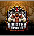 rooster sports esport mascot logo design vector image vector image