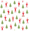 seamless christmas pattern santa claus and vector image