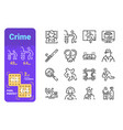 set crime simple lines icons equipment vector image vector image