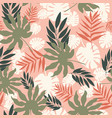 soft pastel tropical leaves seamless vector image